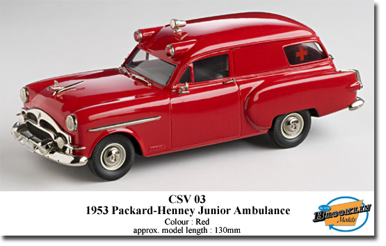 Brooklin KCSV03 PACKARD HENNEY JUNIOR AMBULANCE 1953 Die cast 1:43