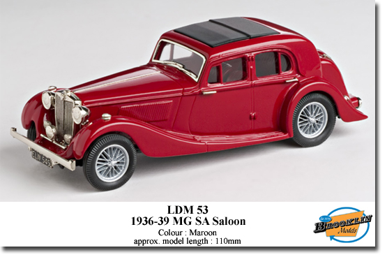 Brooklin LDM53 MG SA SALOON 1936-39 Miniatures 1:43
