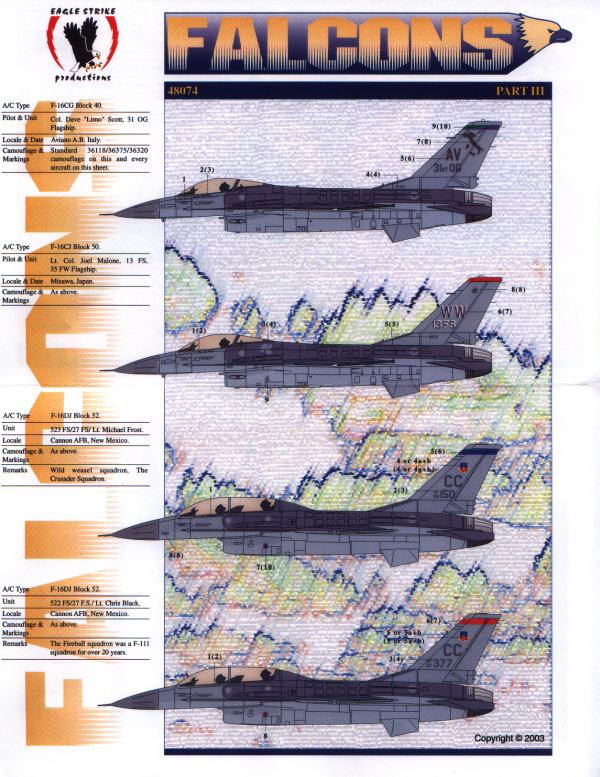 Eagle Strike Productions 48074 F 16 FALCONS PARTIE III Maquettes 1:48