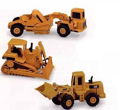 Norscot 55018 Caterpillar ensemble bulldozer pelleteuse scraper 4 Miniatures 1:64
